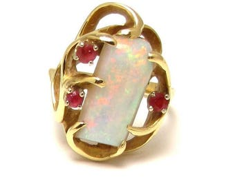 14k Yellow Gold Ruby Opal Ring - Size 5 1/4 - Large Queensland Australian Opal - October and July Birthstones - Weight 6.3 Grams # 1267