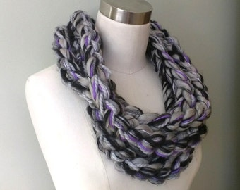 Purple Scarf Necklace . Chain Scarf . Crochet Scarf . Gray Scarf . Black Scarf . Rope Scarf . Chunky Scarf . One of a Kind . Statement Piece