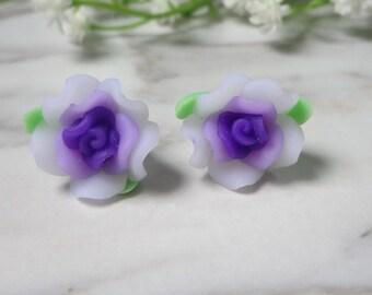 Purple  Frangipani Flower Soft Ceramic Clay Stud Earrings  0218-2
