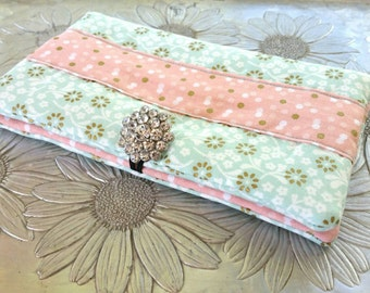 Women's Wallet, Mint and Pink Floral Wallet, Clutch