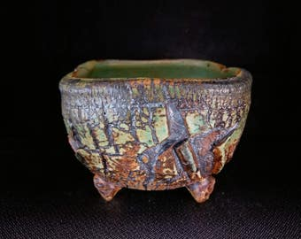 ChingWenArts Stoneware Handmade planter,succulent Pot, with holes Signed,#E104