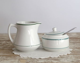 Vintage White Sugar and Creamer, Restaurant Ware Sugar Bowl and Creamer, Shenango Sugar and Creamer, Farmhouse Kitchen, Country Kitchen