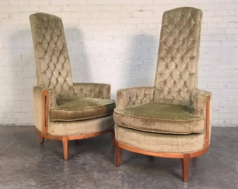 Hollywood Regency Pair High Back Chairs In Tufted Green Velvet By Sam Belz - SHIPPING NOT INCLUDED