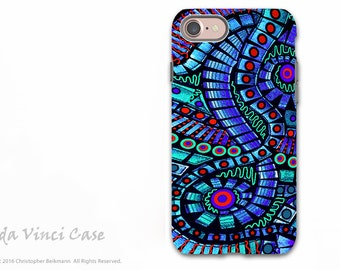 Blue and Red Abstract Apple iPhone 7 Tough Case - Dual Layer Protection - Spectrum Blue Tentacles Octopus Art iPhone 7 Case by Da Vinci Case