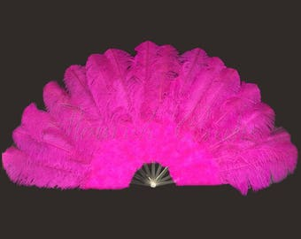 """hot pink Ostrich Marabou Feather fan with pmma staves 30"""" x 55"""" opened 180 degree"""