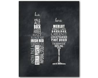 Exceptionnel CANVAS Wall Art   His Hers Art   Beer Bottle Wine Glass Typography Room  Decor