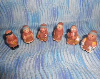 Six Terra Cotta Miniature Monks-Hand Painted