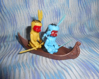 Two Native Americans  Children In A Canoe Cake Topper-Vintage