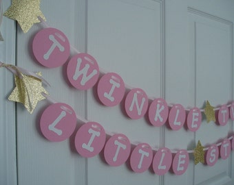 Twinkle Twinkle Little Star Banner, Gold Glitter Stars Garland, Pink and Gold Baby Shower Banner, Birthday Banner, Pink, Gold, White