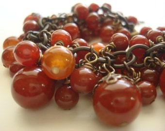 Semi Precious Fire Agate Wire Wrapped Vintaj Natural Brass Cluster Bracelet