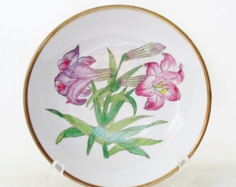 ON SALE Vintage Horchow Collection Handpainted Japanese Porcelain Purple and Pink Daylily Flowers, Brass Lined Bowl