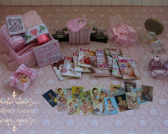 Dollhouse miniature set for baby girl 2  - IT'S A GIRL- OOAK