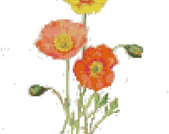 Vintage Poppies Botanical Cross Stitch Pattern, Digital Download PDF