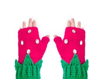 Hot Pink Berry Finger Less Gloves Cute Womens Texting Mittens Cerise Crochet Hand Warmers Kawaii Girls Fruit Gloves Gift for Teenage Girl