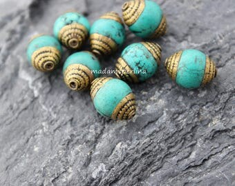 1  Brass Capped turquoise Bead Tibet Nepal Ethnic Handmade Boho Tribal Antiqued Brass Rustic Yoga turkish jewelry supplies large