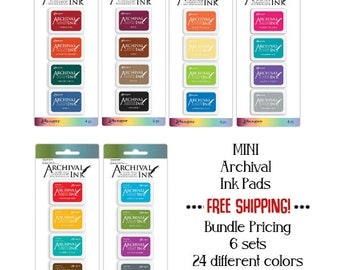 Archival MINI Ink Pads - 6 Sets - 24 Colors - Ranger - Waterproof - Permanent - 1.25 inch x 1.75 inch - Ships Now - FREE Shipping