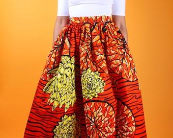 Sheri - African Ankara Wax Print Maxi Skirt With Head Tie Option SM-XXXL
