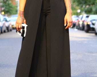 Black Wide Leg Faux Wrap Pants