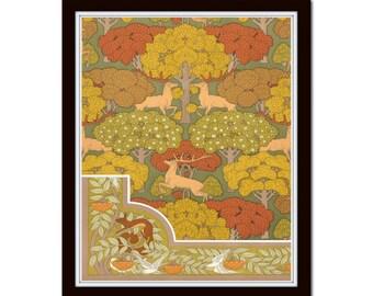 Art Nouveau Forest Poster No. 16, Wall Art, Art Print, Botanical, Art Nouveau Print, Home Decor, Arts and Crafts, Mission Style Art, Giclee