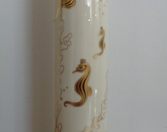 Vintage 1950's LENOX Bone China Vase with Gold Seahorse Decoration