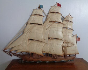 Vintage Syroco Wall Hanging of a Sailing Ship,Clipper Ship