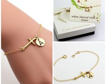 Gold filled cross bracelet, monogram bracelet, Personalized bracelet, best friend bracelet, sister bracelet