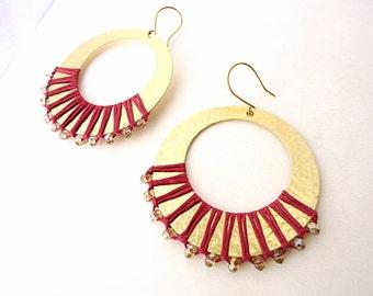Hammered Hoop Earrings, Drop earrings, long earrings, boho earrings, Artisan earrings, burgundy red earring, ethnic earrings, tribal earring
