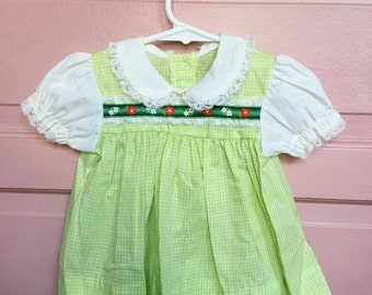 Vintage green gingham/ swiss lace embroidered baby dress - st patricks day/ easter / spring summer dress size 6/9M