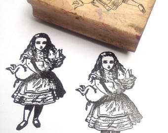 Destash Wooden Rubber Stamp Alice in Wonderland