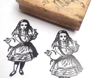 Destash Wooden Rubber Stamp Alice in Wonderland