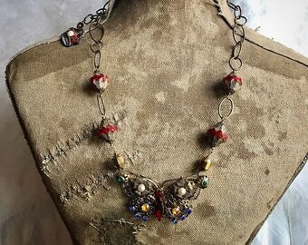 Vintage butterfly and crown assemblage necklace OOAK