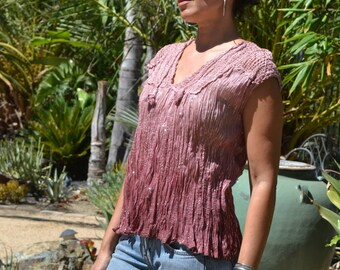 Vtg 70's India NWOT Deadstock Boho Ombre mauve sheer THIN crinkle cotton gauze macrame silver metallic lurex tunic top blouse sz S//L