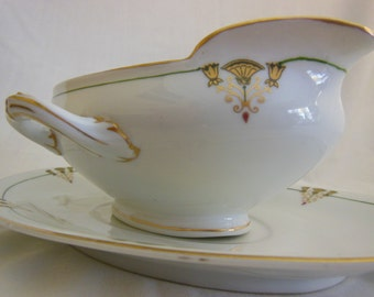 Art Deco Thistle by Austria Double Handled Gravy Boat w/Under plate 1915-20's Fantastic condition offers considered