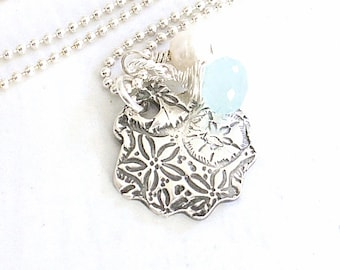 Scallop Shell and Sand Dollar Necklace, PMC Fine Silver Beach Jewelry, Aqua Gemstone Seashell Jewelry - Sale