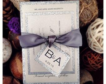 Silver Glitter wedding invitation, wedding invitation, Modern wedding invitations with belly band, fall wedding invitation