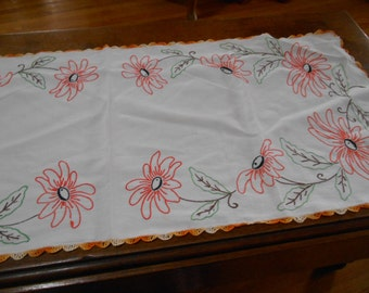 Vintage Retro embroidered table runner with Crocheted edges