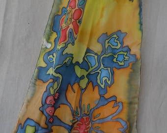 Handmade silken painted scarf