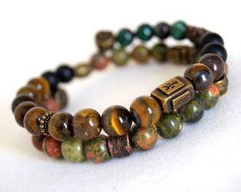 Mens bracelet-Memory wire men bracelet-Yoga bracelet-Meditation bracelet-Stacking bracelet-Energy bracelet-Love bracelet-Valentines day gift