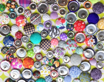 Button Earrings / 10 Pairs / Fabric Covered / Bulk Discount / Vintage Inspired / WHOLESALE Jewelry / Gifts for Her / Boutique Stockist