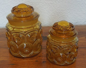 Vintage LE Smith Moon and Star Amber Glass Canisters Lot of 2 Small & Medium Storage