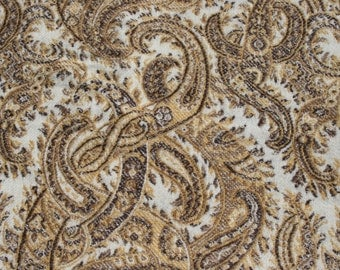 "Vintage E Perrot Tissus Wool Shawl Scarf Paisley French Designer Fabric, Gold Brown 54"" x 54"""