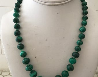 Vintage Malachite Graduated Beaded Necklace