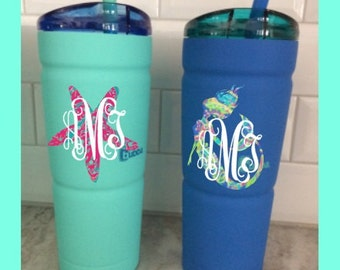 Monogrammed Bubba Stainless Steel Envy Tumbler & Lilly Pulitzer Inspired Vinyl Mermaid, Turtle, Anchor - Mint and Blue with reusable straw 2