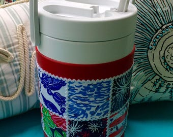 Lilly Pulitzer Patch Work - Fabric Covered Large 1 Gallon - 4th of July Thermos/Tumbler/Jug with Glow In The Dark Patriotic theme patch