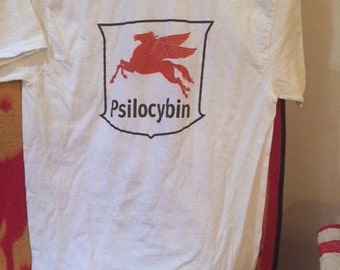 Medium White Cotton Blend Psilocybn T-Shirt