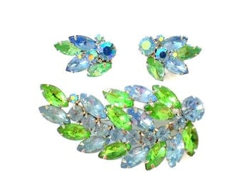 Weiss Blue Green AB Crystal Brooch & Clip on Earring Set