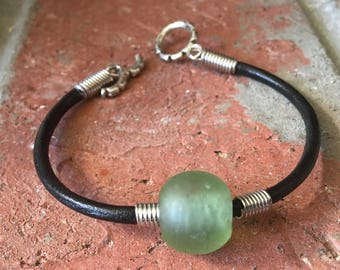 Leather Bracelet, African Recycled Green Glass, Silver Findings, Barrel Clasp