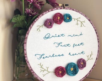 Made to order inpirational quote floral hand embroidered wall decor, customize with your quote and color scheme
