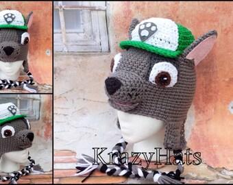 Crochet Dog hat.Rocky crochet hat.