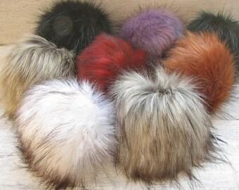 Vegan Faux  Fur Pom Poms, 8  Fake fur pom pom (17 cm) choose color, long fur, Extra Large Detachable pom pom  Mix Color,